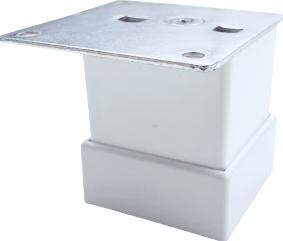 Picior metalic pentru mobilier H 50 mm finisaj alb profil patrat 40x40 mm cu masca Accesorii mobilier