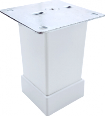 Picior metalic pentru mobilier H 80 mm finisaj alb profil patrat 40x40 mm cu masca Accesorii mobilier