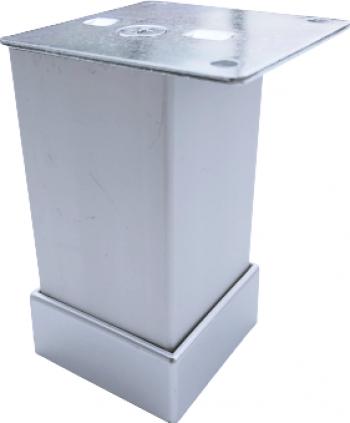 Picior metalic pentru mobilier H 80 mm finisaj aluminiu profil patrat 40x40 mm cu masca Accesorii mobilier