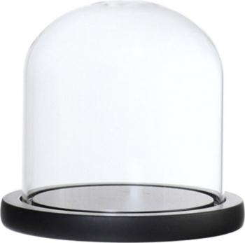 Cupola de sticla transparenta dom sticla baza lemn negru diametru 10 cm inaltime 15 cm