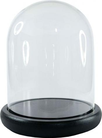 Cupola de sticla transparenta dom sticla baza lemn negru diametru 10 cm inaltime 20 cm