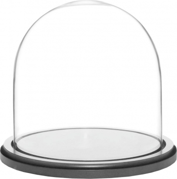 Cupola de sticla transparenta dom sticla baza lemn negru diametru 12 cm inaltime 15 cm