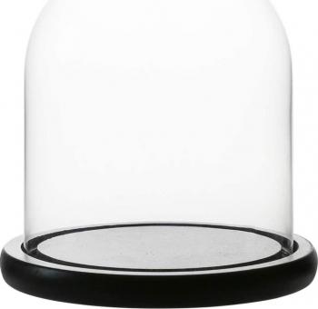 Cupola de sticla transparenta dom sticla baza lemn negru diametru 12 cm inaltime 20 cm