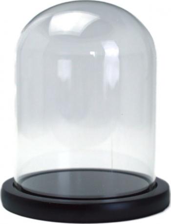 Cupola de sticla transparenta dom sticla baza lemn negru diametru 12 cm inaltime 25 cm