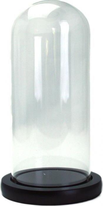 Cupola de sticla transparenta dom sticla baza lemn negru diametru 12 cm inaltime 30 cm