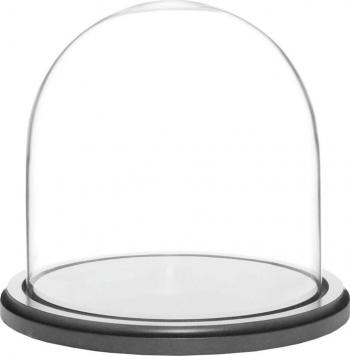 Cupola de sticla transparenta dom sticla baza lemn negru diametru 15 cm inaltime 20 cm