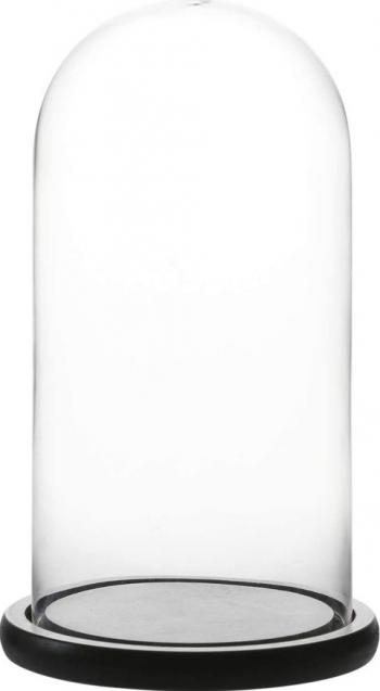 Cupola de sticla transparenta dom sticla baza lemn negru diametru 15 cm inaltime 25 cm
