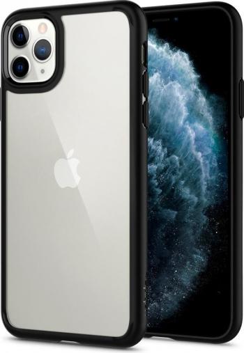 Husa Premium Originala Spigen Ultra Hybrid iPhone 11 Pro Max Transparenta Cu Rama Neagra Huse Telefoane