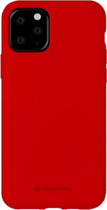 Husa Spate Mercury Silicone iPhone 11 Pro cu Interior Alcantara rosu Huse Telefoane