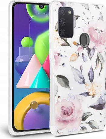 Husa Spate Tech-protect Floral Silicone Samsung Galaxy A21s alb Huse Telefoane