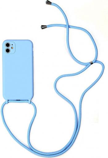 Husa G-Tech Strap iPhone 11 Pro Snur prindere la gat reglabil Protectie camera foto TPU Bleu Huse Telefoane