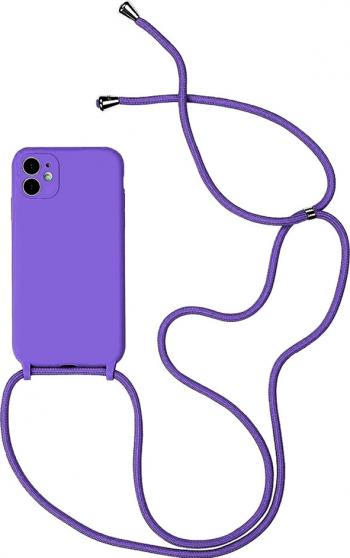 Husa G-Tech Strap iPhone 11 Pro Snur prindere la gat reglabil Protectie camera foto TPU Mov Huse Telefoane
