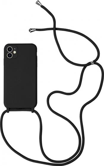 Husa G-Tech Strap iPhone 11 Pro Snur prindere la gat reglabil Protectie camera foto TPU Negru Huse Telefoane