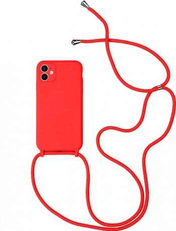 Husa G-Tech Strap iPhone 11 Pro Snur prindere la gat reglabil Protectie camera foto TPU Rosu Huse Telefoane