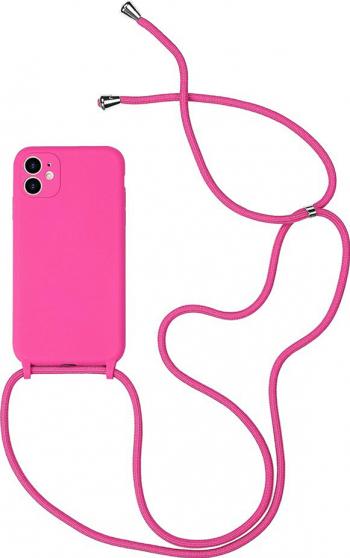 Husa G-Tech Strap iPhone 11 Pro Snur prindere la gat reglabil Protectie camera foto TPU Roz Huse Telefoane