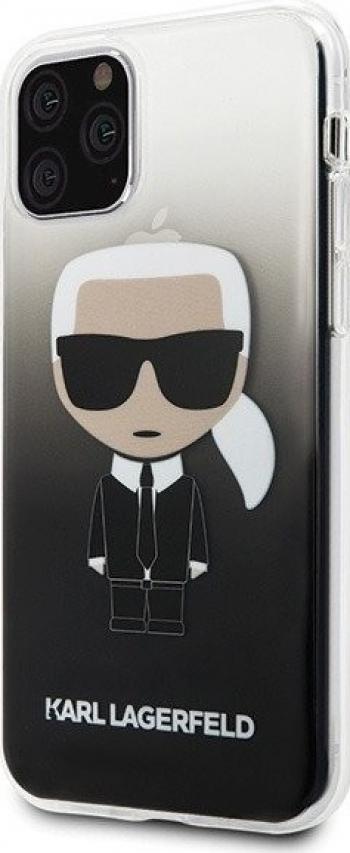 Husa Premium Karl Lagerfeld iPhone 11 Pro Max Glitter Karl Negru Silicon Huse Telefoane