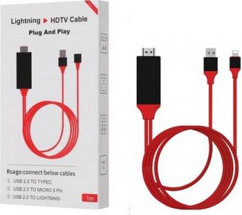 Telefon Cablu HDTV 3 IN 1 MHL Full HD 1080P USB HDMI and nbsp TV Pt Samsung Iphone Huawei Xiaomi Lg - 384 Adaptoare