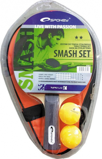 Set tenis de masa ping-pong Spokey Smash 1 paleta 2 mingi ping-pong husa