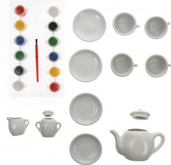 Set ceai portelan cu acuarele 11 de accesorii - 22152 Jucarii
