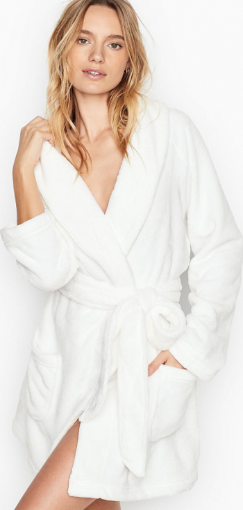 Halat Victorias Secret Logo Short Cozy Ivory Marime M Halate dama