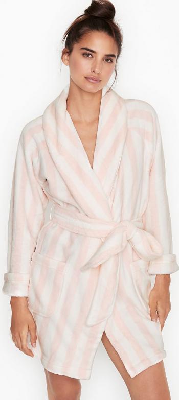 Halat Victorias Secret Logo Short Cozy Pink Stripe Marime M Halate dama
