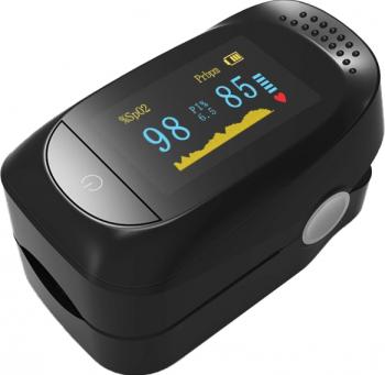 Pulsoximetru medical pentru deget iMDK C101A2 indica nivelul de saturatie al oxigentului afisaj OLED Negru CP9994057NU Pulsoximetre