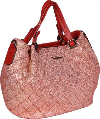 Poseta rosie cu insertii aurii Tony Bellucci din piele naturala moale tip matlasat MAGAZINUL DE GENTI