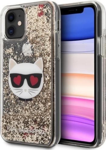 Husa Cover Karl Lagerfeld Heads Glitter Kryt Pro pentru iPhone 11 Gold Huse Telefoane