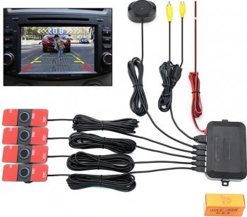 Kit 4 Senzori parcare auto look Original dual cu preluare camera marsarier si intrare in orice monitor navigatie mp5 Alarme auto si Senzori de parcare