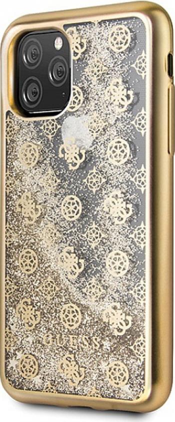 Husa Protectie Originala GUESS pentru IPHONE 11 PRO 4G PEONY LIQUID GLITTER GUHCN58PEOLGGO Auriu Huse Telefoane