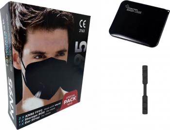 Set 2 Masca protectie KN95 FFP2 negru cu valve plus 1bucata cutie protectie masti plus 1 Dispozitive De Prindere Masti chirurgicale si reutilizabile