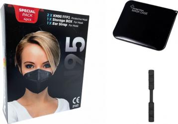 Set 2 Masca protectie KN95 FFP2 negru plus 1bucata cutie protectie masti plus 1 Dispozitive De Prindere Masti chirurgicale si reutilizabile