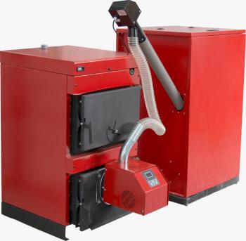 Centrala mixta lemn si peleti Burnit WBS 50 KW cu arzator Peleti Burnit Pell Eco 55 kw snec si buncar peleti 280 kg aprindere automata Centrale pe lemne