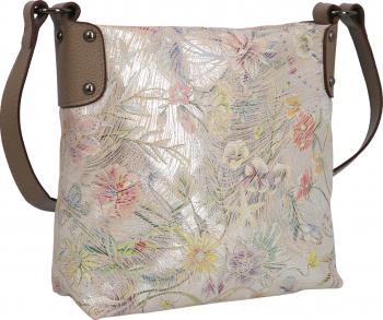Geanta de umar cross-body maro taupe din piele naturala cu imprimeu floral model 606 MAGAZINUL DE GENTI Genti de dama