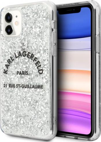 Husa Cover Karl Lagerfeld St.Guillaume Glitter Kryt Pro pentru iPhone 11 Silver Huse Telefoane