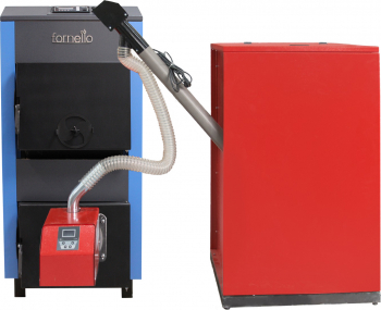 Pachet Centrala mixta lemn si peleti Fornello A 35 kW cu ventilator si automatizare serpentina de racire arzator Peleti Pell Eco 35 kw si Centrale pe lemne