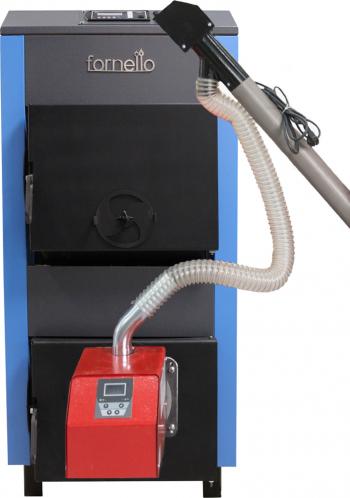 Pachet Centrala mixta lemn si peleti Fornello A 35 kW cu ventilator si automatizare serpentina de racire si arzator Peleti Pell Eco 35 kw Centrale pe lemne