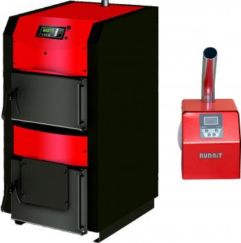 Pachet centrala mixta lemn si peleti Sunsystem Burnit WBS-ACTIVE 50 kw cu ventilator automatizare si arzator Peleti Pell Eco 35 kw snec Centrale pe lemne