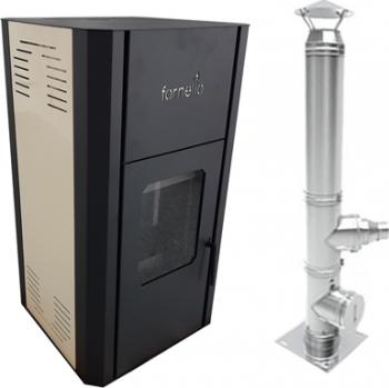 Pachet Termosemineu pe peleti Fornello Primo Pellet 25 KW aprindere automata telecomanda buncar tiraj fortat pompa circulatie vas Termoseminee