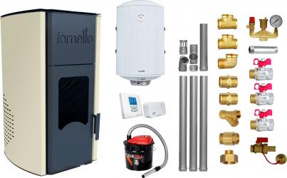 Pachet Termosemineu peleti Fornello Royal Ivory 25 kw complet echipat pentru incalzire pompa circulatie vas expansiune automatizare kit Termoseminee