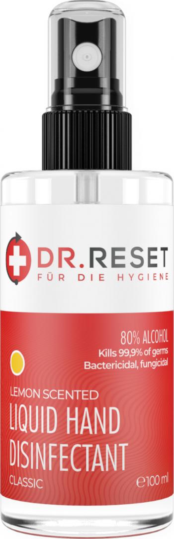 Solutie Dezinfectanta Antibacteriana DR.RESET 80 alcool 100ml cu miros de Lamaie Avizata Biocid produsa in Europa Gel antibacterian