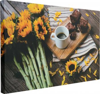 Tablou Canvas Cafea Langa Floarea Soarelui 50 x 70 cm 100 Poliester Tablouri