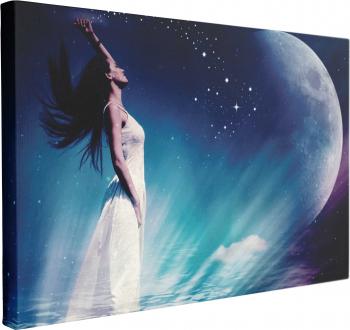 Tablou Canvas Femeie Stele Luna 60 x 90 cm 100 Bumbac Tablouri