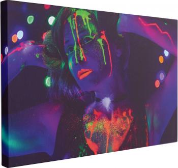 Tablou Canvas Neon Girl Party 60 x 90 cm 100 Poliester Tablouri