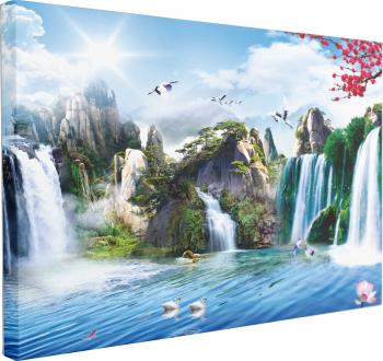 Tablou Canvas Pictura Murala cu Cascade 70 x 100 cm 100 Bumbac Tablouri