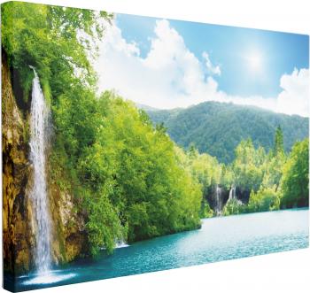 Tablou Canvas Sunlight Waterfalls 60 x 90 cm 100 Poliester Tablouri