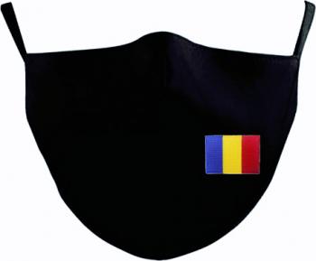 Set 2 Masti de Protectie din Bumbac Personalizate prin Broderie cu Tricolorul Reutilizabile 2 straturi Magic Mirror Fashion Negru Masti chirurgicale si reutilizabile