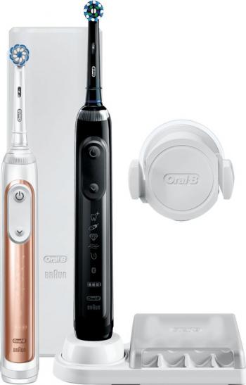 Pachet 2 periute de dinti electrice Braun Oral-B Genius 10900N Gum Protection Assistant Curatare 3D Bluetooth 6 programe 2 capete rose Periute electrice si dus bucal