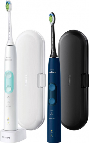 Pachet 2 periute de dinti electrice Philips Sonicare 5100 ProtectiveClean senzor presiune truse calatorie 3 programe 2 capete alb/verde and