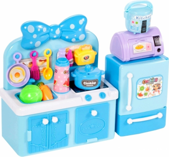 Bucatarie pentru papusi cu frigider albastru Malplay 107545